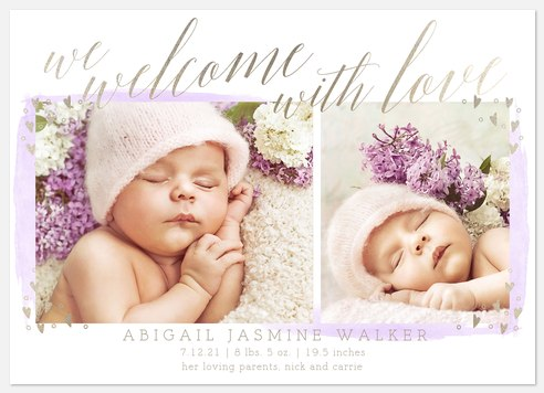 Lavender Glow Baby Birth Announcements