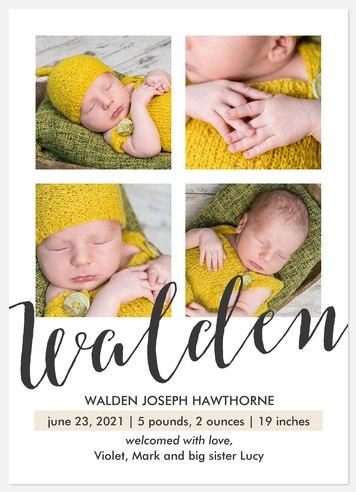 Bold Flourish Baby Birth Announcements
