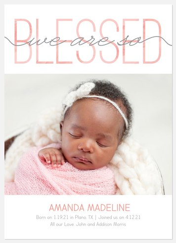 Beyond Blessed: Blush Baby Birth Announcements