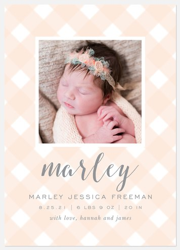 Spring Gingham Baby Birth Announcements