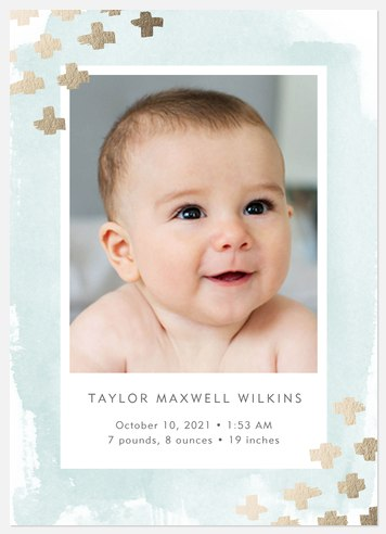 Starlight Corners Blue Baby Birth Announcements