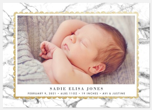 Marbled Chic  Baby Birth Announcements