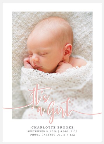 Baby Girl Lovenote Baby Birth Announcements