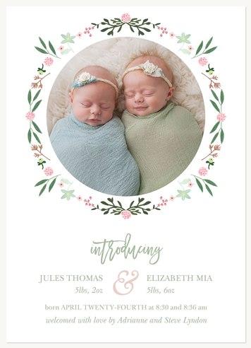 Garden Circle Twin Birth Announcements