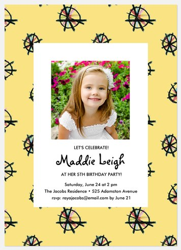 Crayon Pinwheels Kids' Birthday Invitations