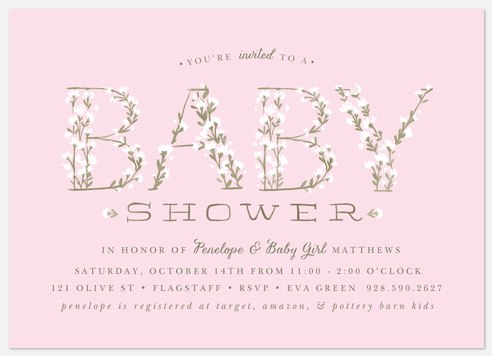 Baby's Breath: Pink Baby Shower Invitations