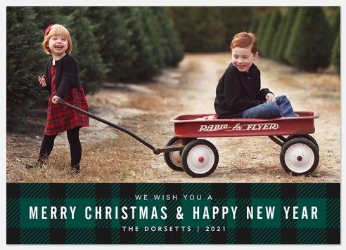 Tartan Banner Holiday Photo Cards