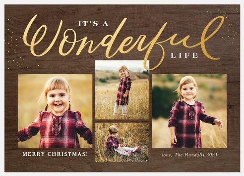 Wonderous Woodgrain Holiday Photo Cards