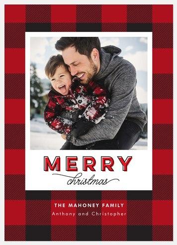 Santa's Plaid Holiday Photo Cards