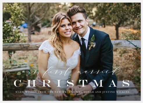 First Married Christmas Holiday Photo Cards