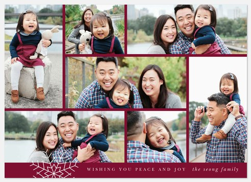 Snowflake Collage Holiday Photo Cards