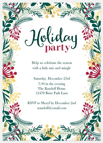 Spry Greenery Holiday Party Invitations