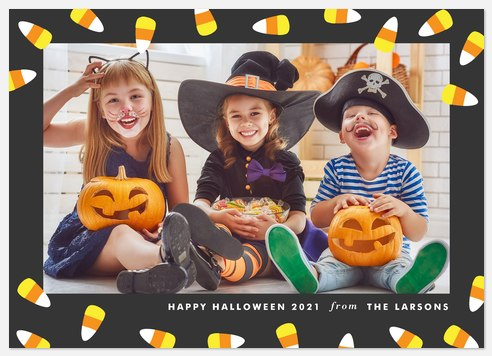 Dancing Candy Corn Halloween Photo Cards