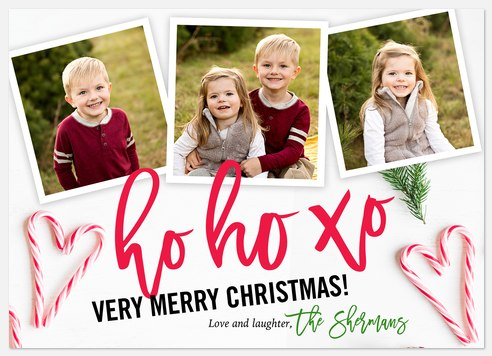 Candy Cane Hearts Holiday Photo Cards