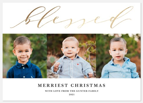 Gold Blessing Holiday Photo Cards