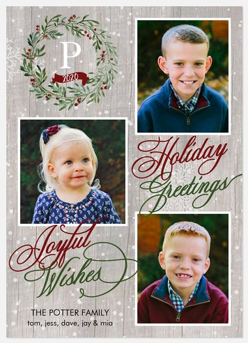 Handpainted Wreath Holiday Photo Cards