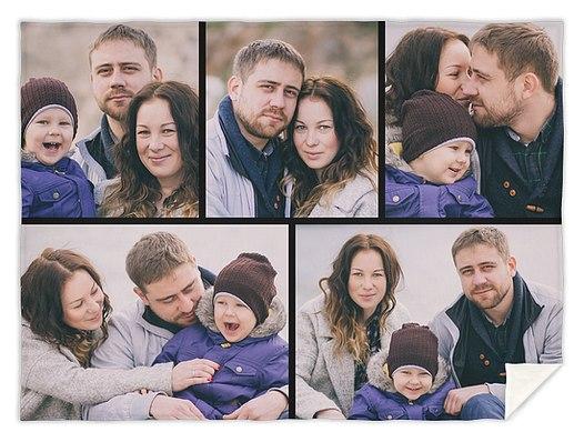 Five Photo Collage Custom Blankets