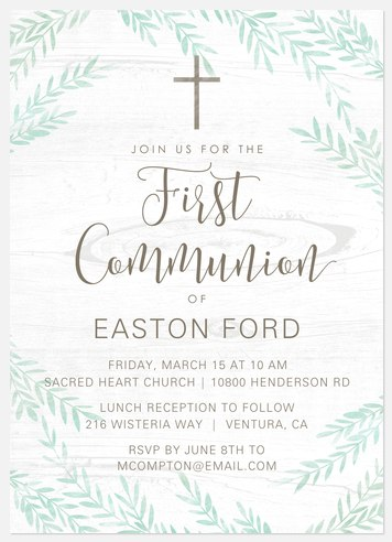 Natural Cross First Communion Invitations