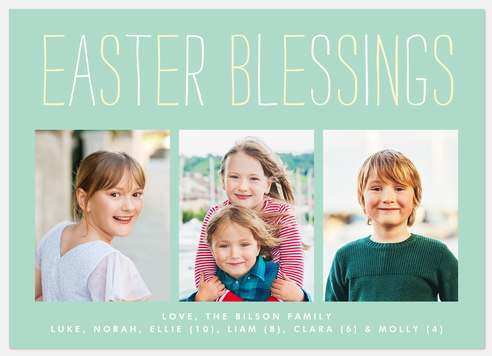 Trio Blessings Easter Photo Cards