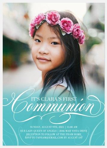 Blessed Flourish First Communion Invitations