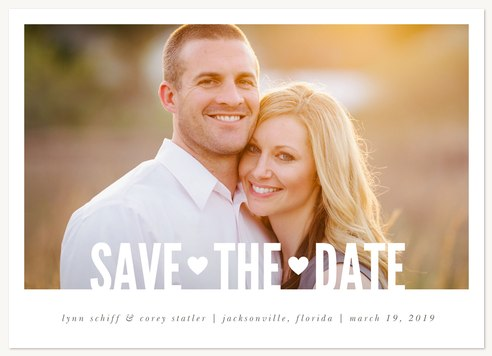 Save the Date Cards, Two Hearts Design
