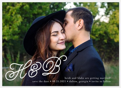 Swirled Initials Save the Date Photo Cards