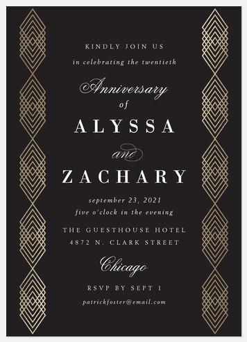 Modern Gatsby Anniversary Invitations
