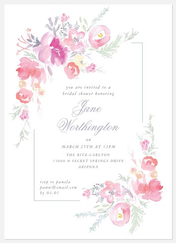 Springtime Blooms Bridal Shower Invitations