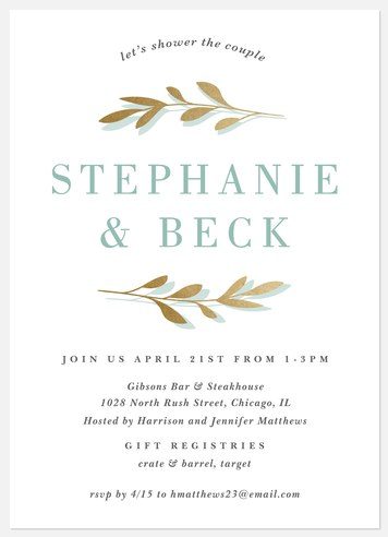 Gilded Branches Bridal Shower Invitations