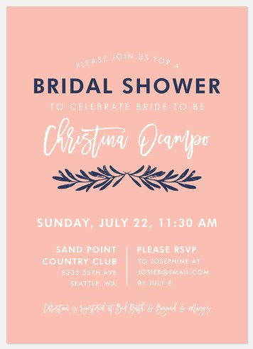 Sweetest Laurels Bridal Shower Invitations