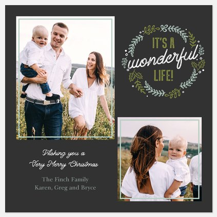 Hand-drawn Wreath Holiday Photo Cards