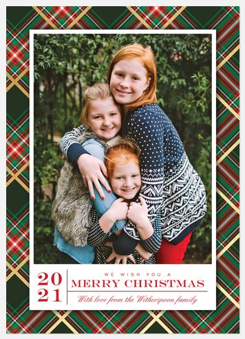 Shimmering Plaid Holiday Photo Cards