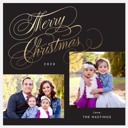 Golden Flourish Holiday Photo Cards