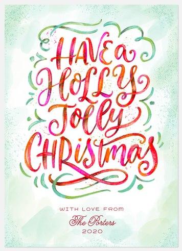 Watercolor Jolly Holiday Photo Cards