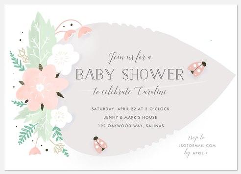 Lovely Ladybug Baby Shower Invitations