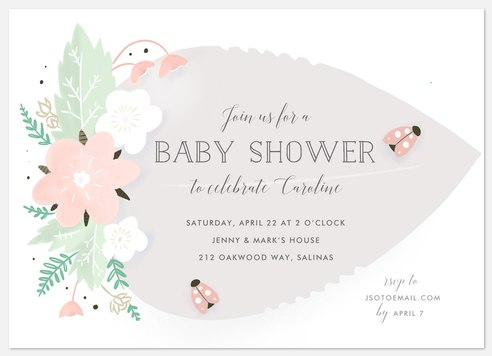 Lovely Ladybug Baby Shower Invitations