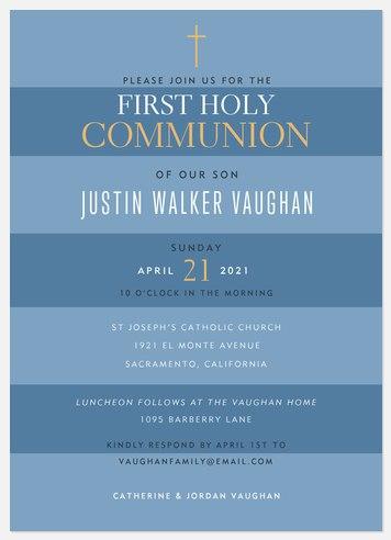 Proud Stripes First Communion Invitations