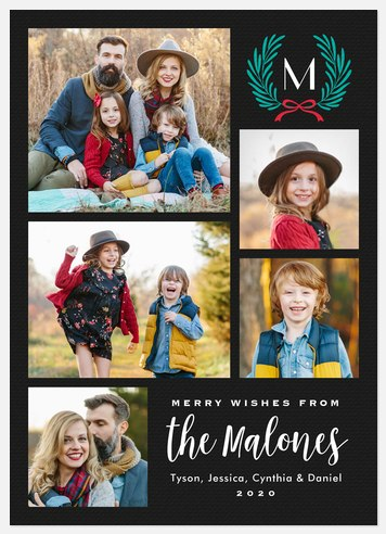 Spruce Monogram Holiday Photo Cards