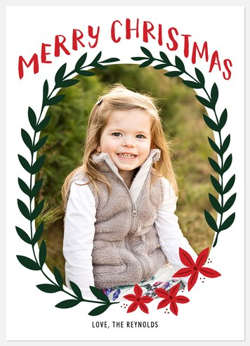 Laurel Wreath Holiday Photo Cards