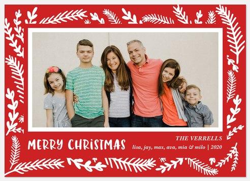 Woodcut Border Holiday Photo Cards
