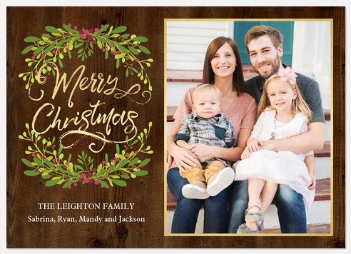 Mistletoe Boughs Holiday Photo Cards