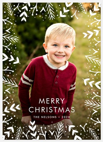 Whimsy Leaves Holiday Photo Cards
