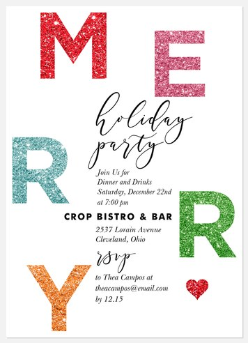 Colorful Glitter Holiday Party Invitations