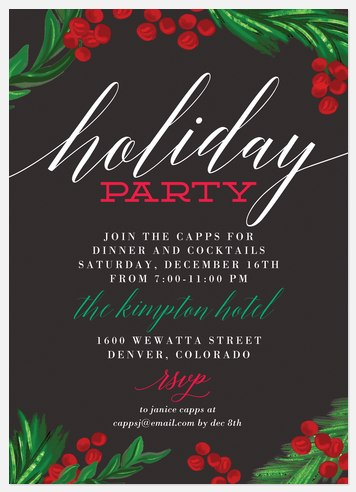 Painted Pine Holiday Party Invitations
