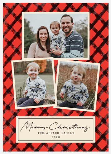 Family Plaid Holiday Photo Cards