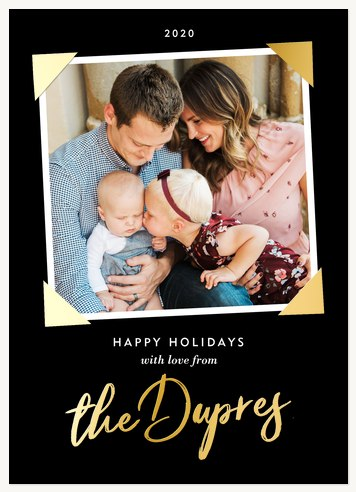Photo Corners Personalized Holiday Cards