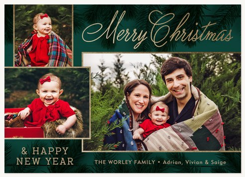 Modern Pine Photo Holiday Cards