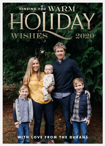 Golden Christmas Holiday Photo Cards