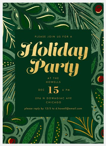 Forest Revelry Holiday Party Invitations