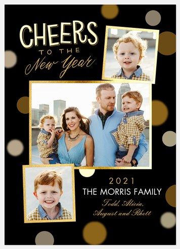 New Year Bokeh Holiday Photo Cards